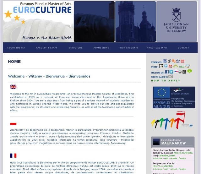Euroculture Krakow Website