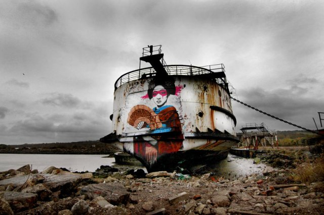 The hull of the Duke of Lancaster has become a blank canvas for gra?ti artists, Dee estuary
